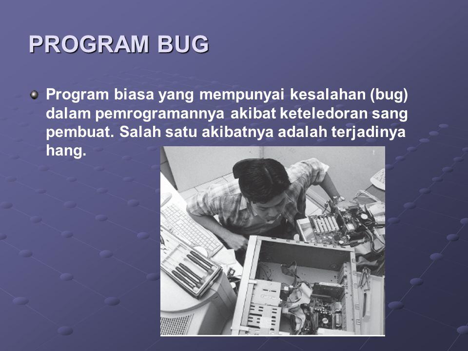 PROGRAM BUG Program biasa yang mempunyai kesalahan (bug) dalam pemrogramannya akibat keteledoran sang pembuat. Salah satu akibatnya adalah terjadinya