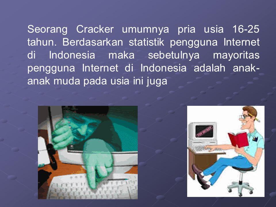 Seorang Cracker umumnya pria usia 16-25 tahun. Berdasarkan statistik pengguna Internet di Indonesia maka sebetulnya mayoritas pengguna Internet di Ind