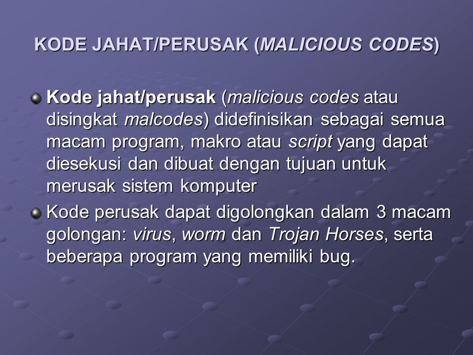 VIRUS Definisi A program that can infect other programs by modifying them to include a slighty altered copy of itself.