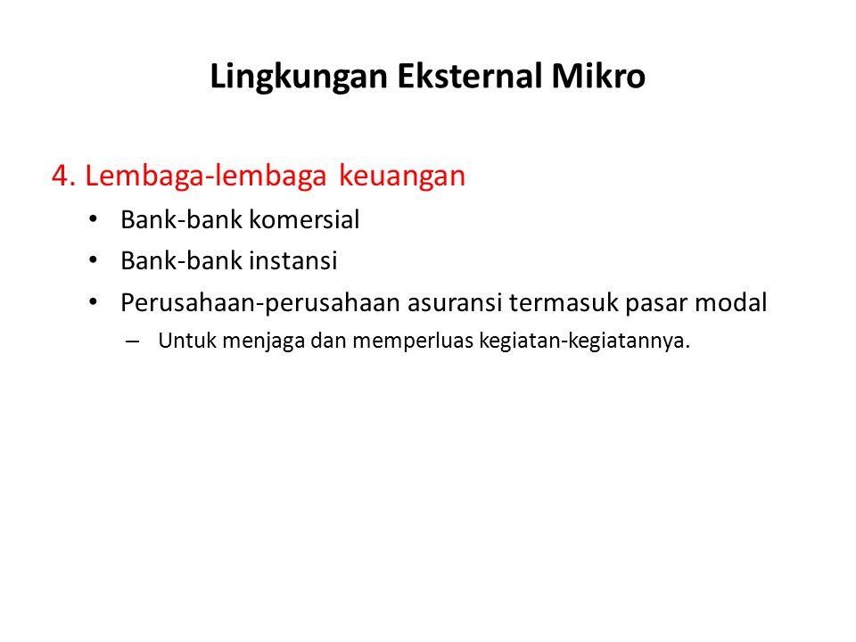 Lingkungan Eksternal Mikro 3.Pasar Tenaga Kerja (Labour Supply) – Dimana mendapatkan tenaga kerja yang mempunyai keahlian, keterampilan, pengalaman ya