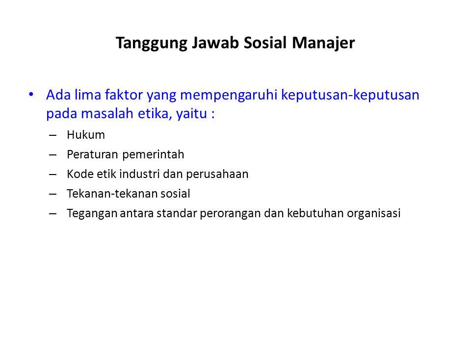 Tanggung Jawab Sosial Manajer Mempertimbangkan dampak sosial dan ekonomi didalam pembuatan keputusannya. Etika mengenai pendapat tentang benar dan sal