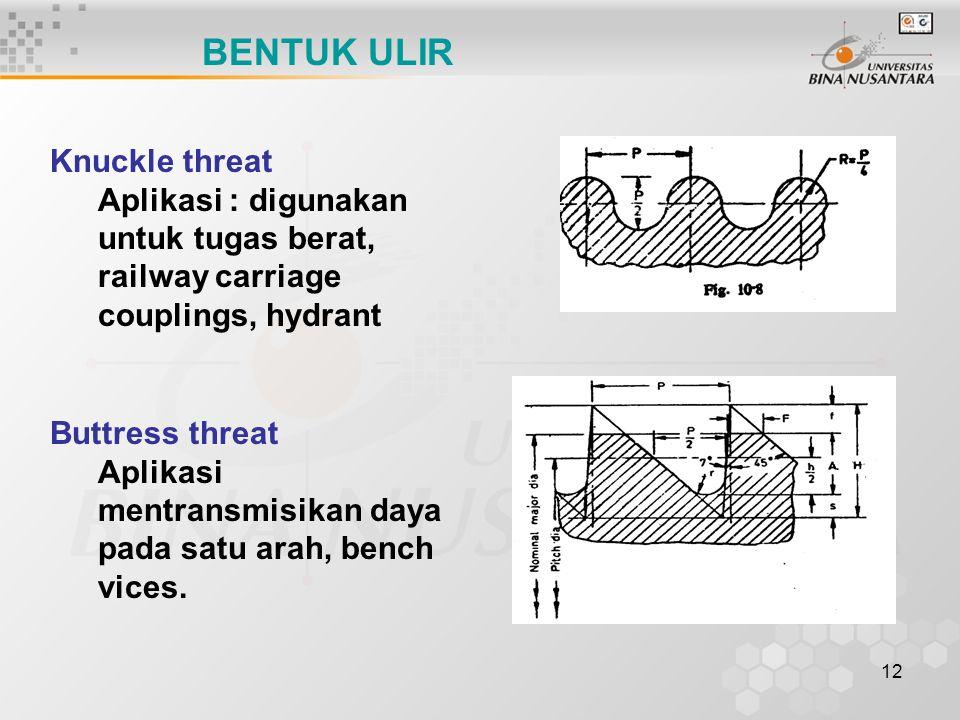 12 BENTUK ULIR Buttress threat Aplikasi mentransmisikan daya pada satu arah, bench vices. Knuckle threat Aplikasi : digunakan untuk tugas berat, railw