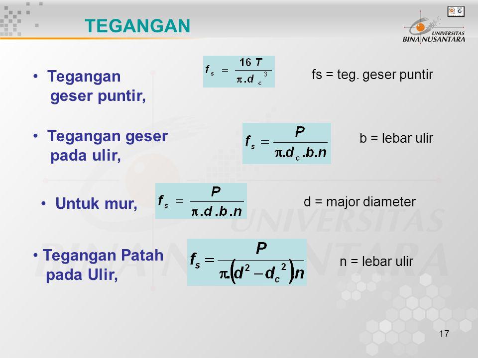 17 TEGANGAN Tegangan geser puntir, Tegangan geser pada ulir, b = lebar ulir fs = teg. geser puntir d = major diameter Untuk mur, Tegangan Patah pada U