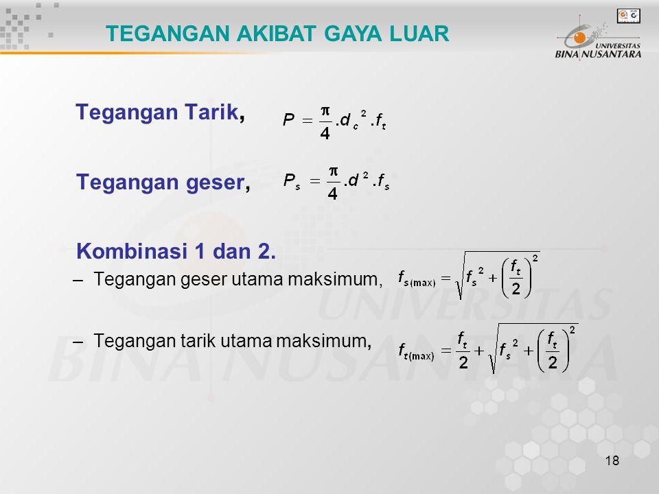 18 Tegangan Tarik, Tegangan geser, Kombinasi 1 dan 2. –Tegangan geser utama maksimum, –Tegangan tarik utama maksimum, TEGANGAN AKIBAT GAYA LUAR