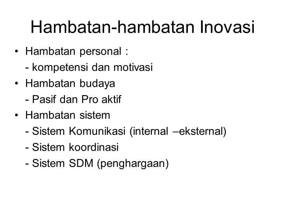 Hambatan-hambatan Inovasi Hambatan personal : - kompetensi dan motivasi Hambatan budaya - Pasif dan Pro aktif Hambatan sistem - Sistem Komunikasi (int