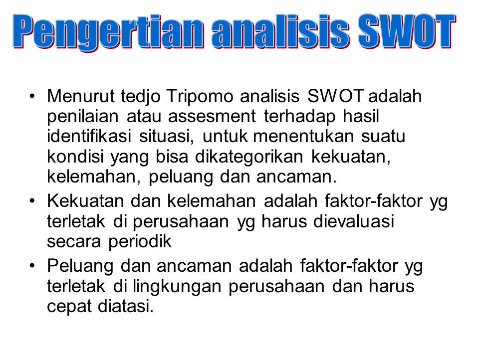 Menurut tedjo Tripomo analisis SWOT adalah penilaian atau assesment terhadap hasil identifikasi situasi, untuk menentukan suatu kondisi yang bisa dika