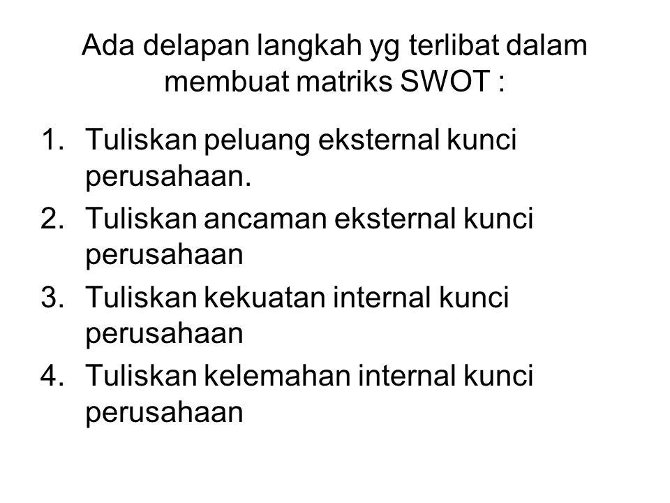Ada delapan langkah yg terlibat dalam membuat matriks SWOT : 1.Tuliskan peluang eksternal kunci perusahaan. 2.Tuliskan ancaman eksternal kunci perusah