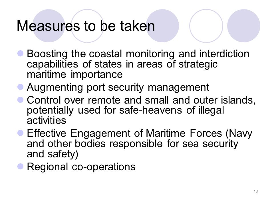 13 Measures to be taken Boosting the coastal monitoring and interdiction capabilities of states in areas of strategic maritime importance Augmenting p