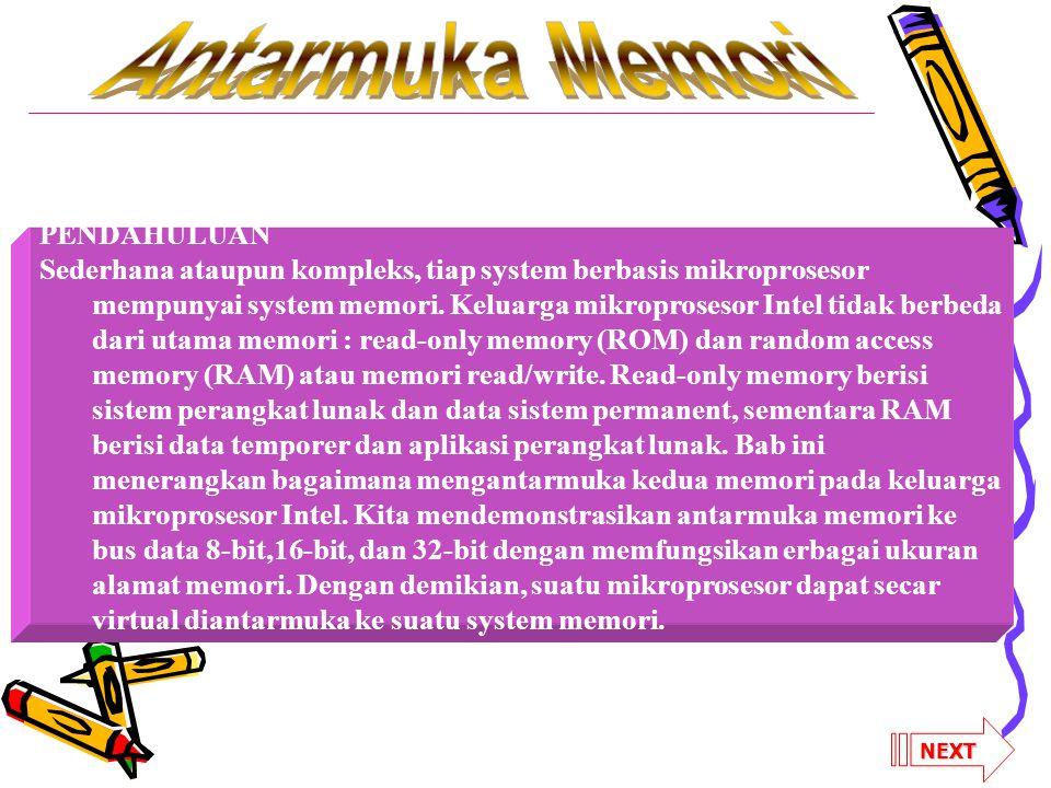 PENDAHULUAN Sederhana ataupun kompleks, tiap system berbasis mikroprosesor mempunyai system memori.