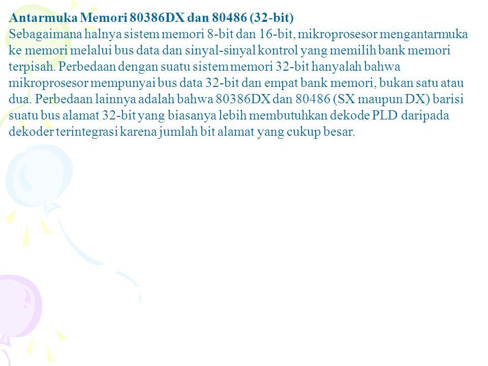 Antarmuka Memori 80386DX dan 80486 (32-bit) Sebagaimana halnya sistem memori 8-bit dan 16-bit, mikroprosesor mengantarmuka ke memori melalui bus data dan sinyal-sinyal kontrol yang memilih bank memori terpisah.