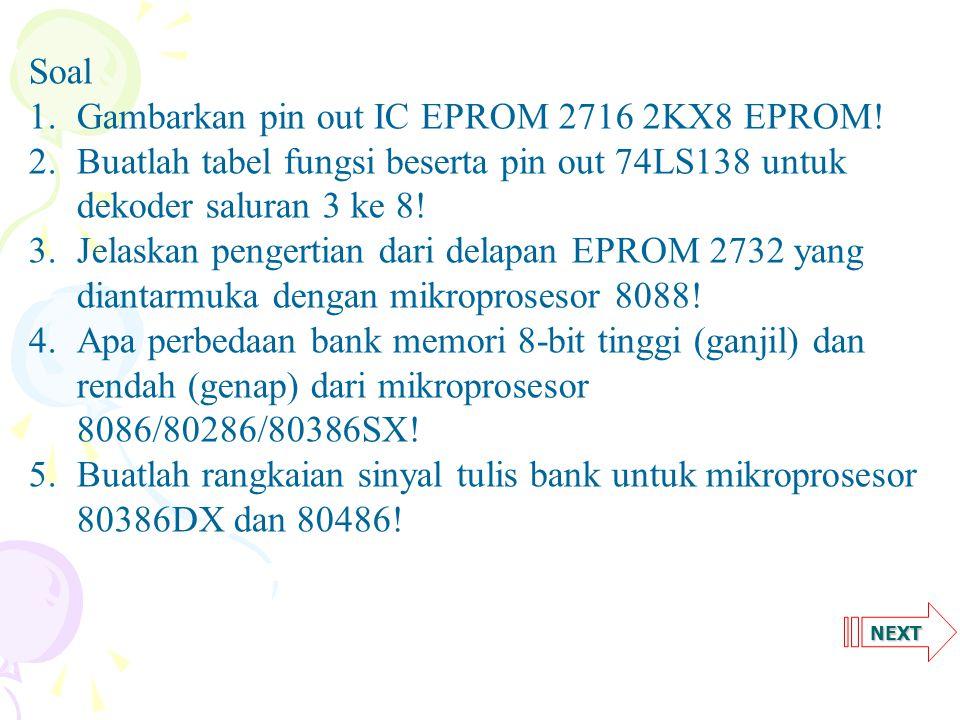 NEXT Soal 1.Gambarkan pin out IC EPROM 2716 2KX8 EPROM.