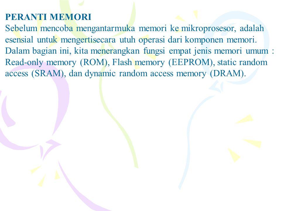 PERANTI MEMORI Sebelum mencoba mengantarmuka memori ke mikroprosesor, adalah esensial untuk mengertisecara utuh operasi dari komponen memori.