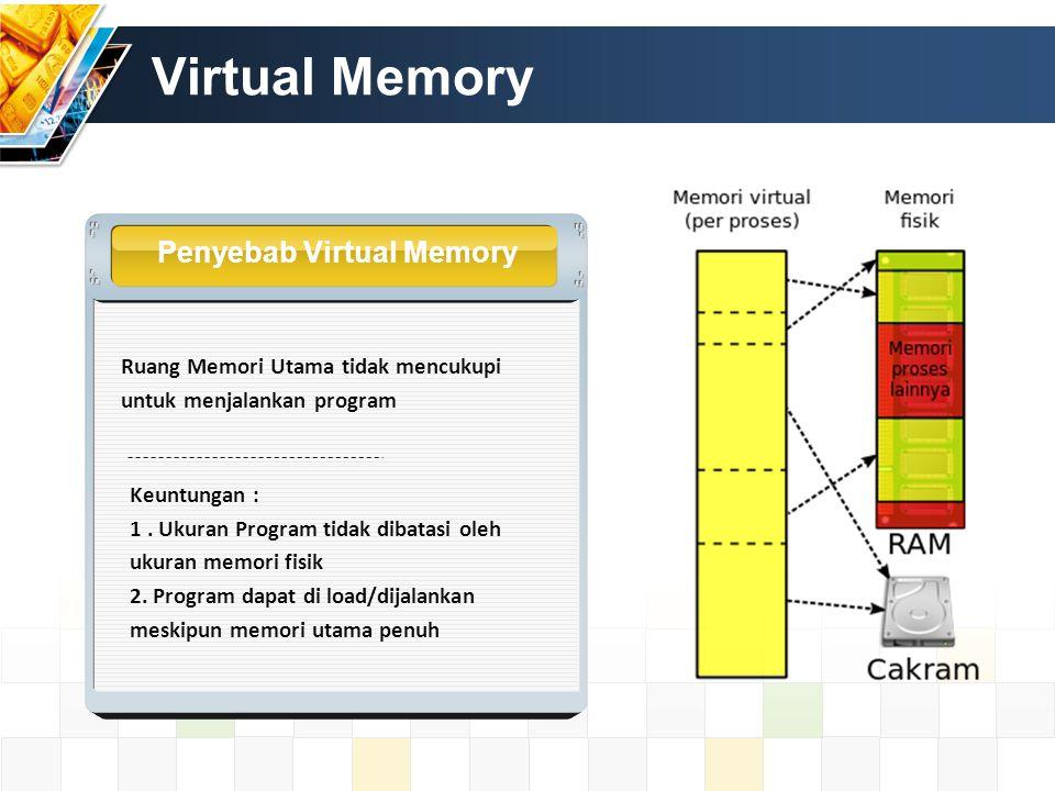 Virtual Memory Penyebab Virtual Memory Ruang Memori Utama tidak mencukupi untuk menjalankan program Keuntungan : 1. Ukuran Program tidak dibatasi oleh
