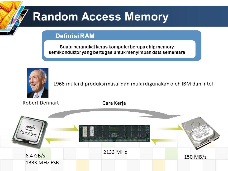 Jenis – jenis RAM Static Random Access Memory Dynamic Random Access Memory RAM Memory dengan menggunakan transistor.