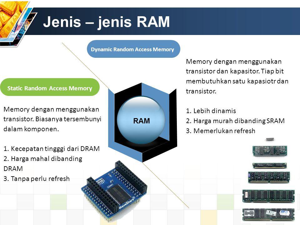 Jenis – jenis RAM Static Random Access Memory Dynamic Random Access Memory RAM Memory dengan menggunakan transistor. Biasanya tersembunyi dalam kompon