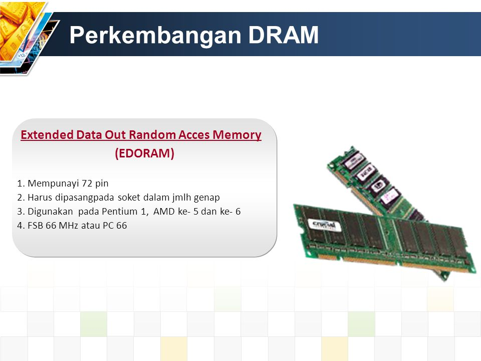 Rambus Dynamic Random Acces Memory (RDRAM) Diproduksi Oleh Rambus Corporation.