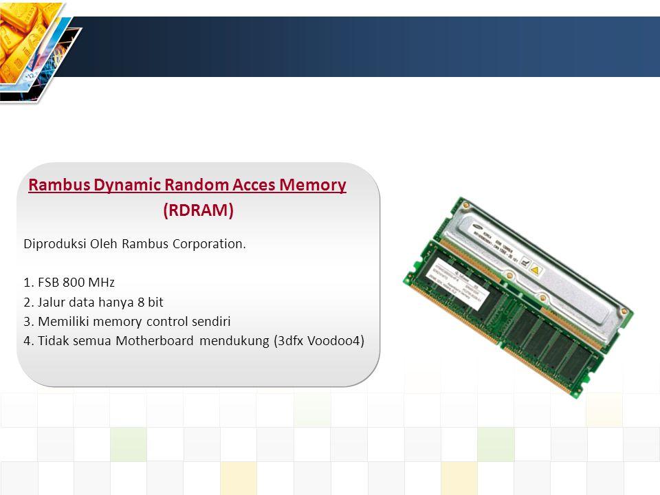 Syncchronous Random Acces Memory (SDRAM) Memori ini lebih cepat dari EDORAM 1.
