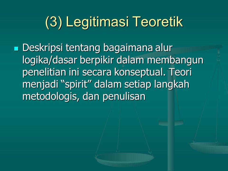 """(3) Legitimasi Teoretik Deskripsi tentang bagaimana alur logika/dasar berpikir dalam membangun penelitian ini secara konseptual. Teori menjadi """"spirit"""