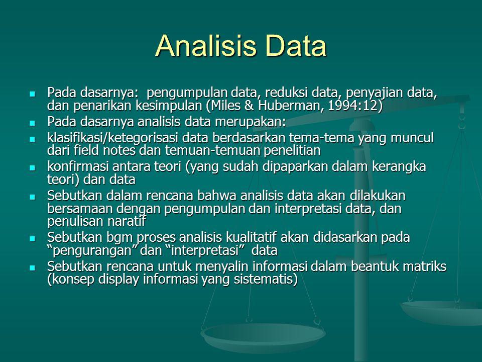 Analisis Data Pada dasarnya: pengumpulan data, reduksi data, penyajian data, dan penarikan kesimpulan (Miles & Huberman, 1994:12) Pada dasarnya: pengu