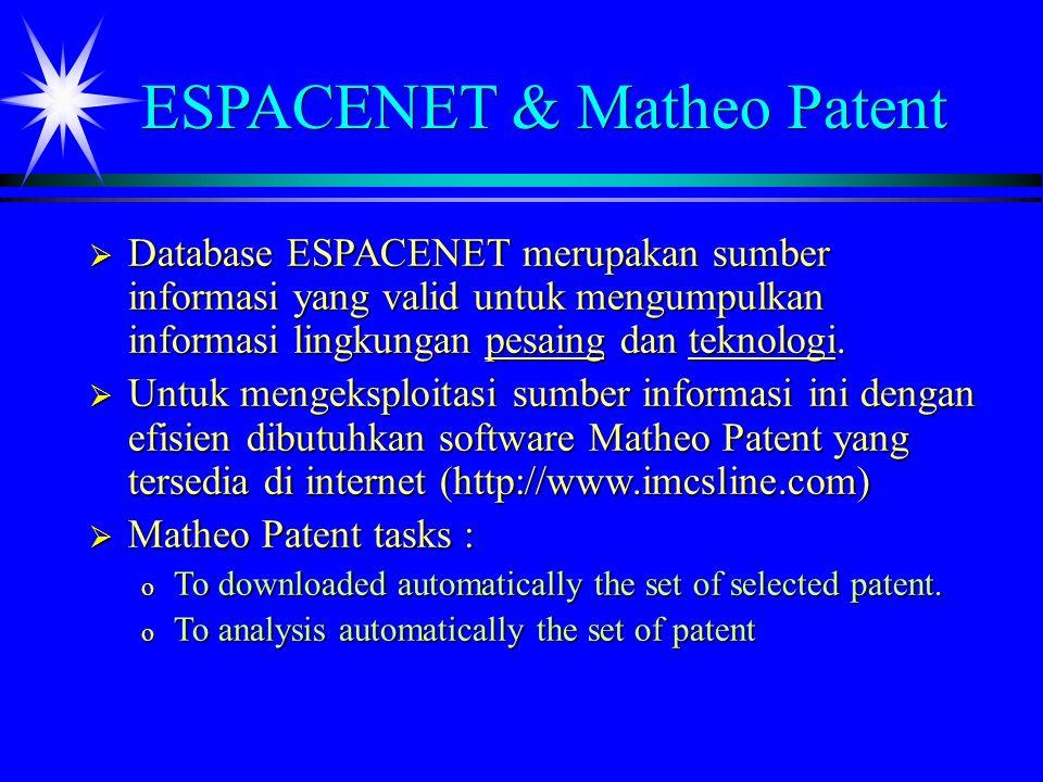 ESPACENET & Matheo Patent  Database ESPACENET merupakan sumber informasi yang valid untuk mengumpulkan informasi lingkungan pesaing dan teknologi.