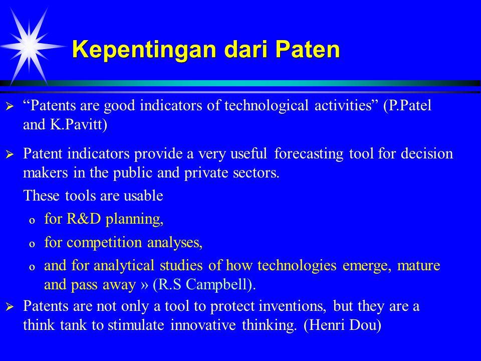 Analisis paten Perusahaan perlu menganalisis paten untuk : PPengawasan terhadap kompetitor MMenganalisis evolusi suatu teknologi MMengenal dengan cepat teknologi baru IInformasi paten tercover dengan baik dalam databases paten international, seperti : DWPI (db paten dunia), JAPIO (db paten Jepang), Espacenet.