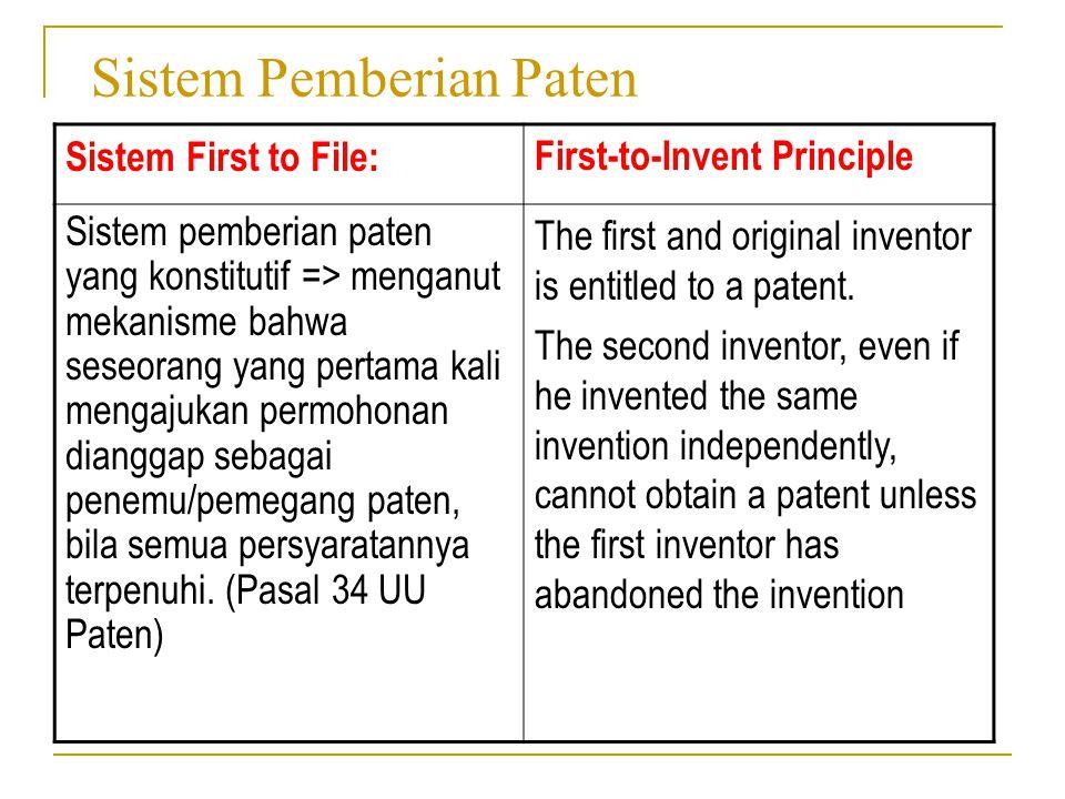 Sistem Pemberian Paten Sistem First to File:First-to-Invent Principle Sistem pemberian paten yang konstitutif => menganut mekanisme bahwa seseorang ya