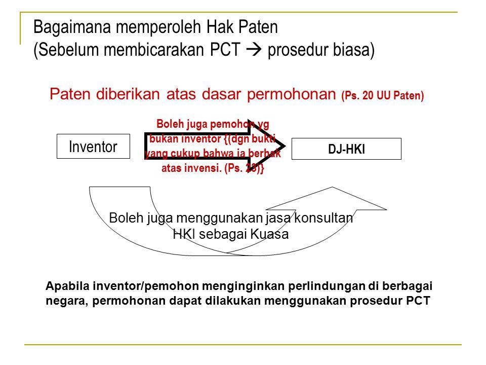 Paten diberikan atas dasar permohonan (Ps. 20 UU Paten) Inventor Boleh juga pemohon yg bukan inventor {(dgn bukti yang cukup bahwa ia berhak atas inve