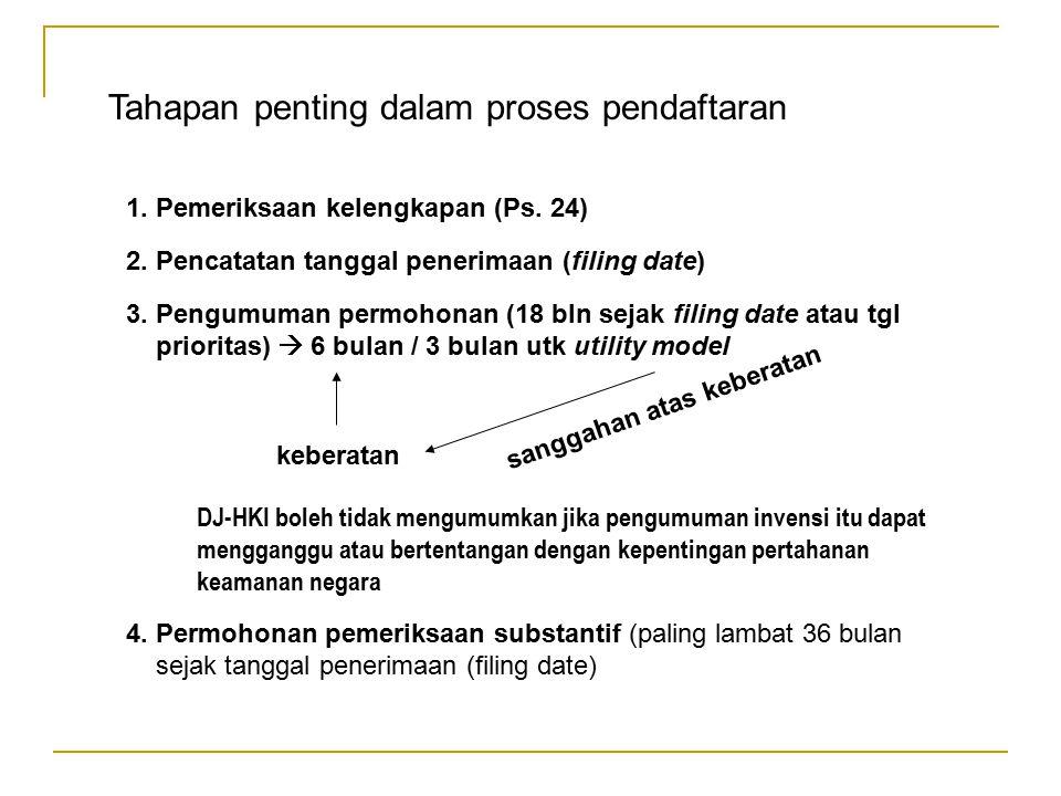 Tahapan penting dalam proses pendaftaran 1. Pemeriksaan kelengkapan (Ps. 24) 2. Pencatatan tanggal penerimaan (filing date) 3. Pengumuman permohonan (