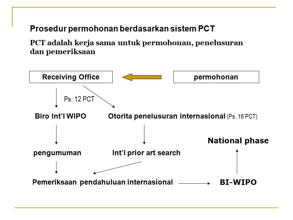 Prosedur permohonan berdasarkan sistem PCT PCT adalah kerja sama untuk permohonan, penelusuran dan pemeriksaan permohonanReceiving Office Biro Int'l W