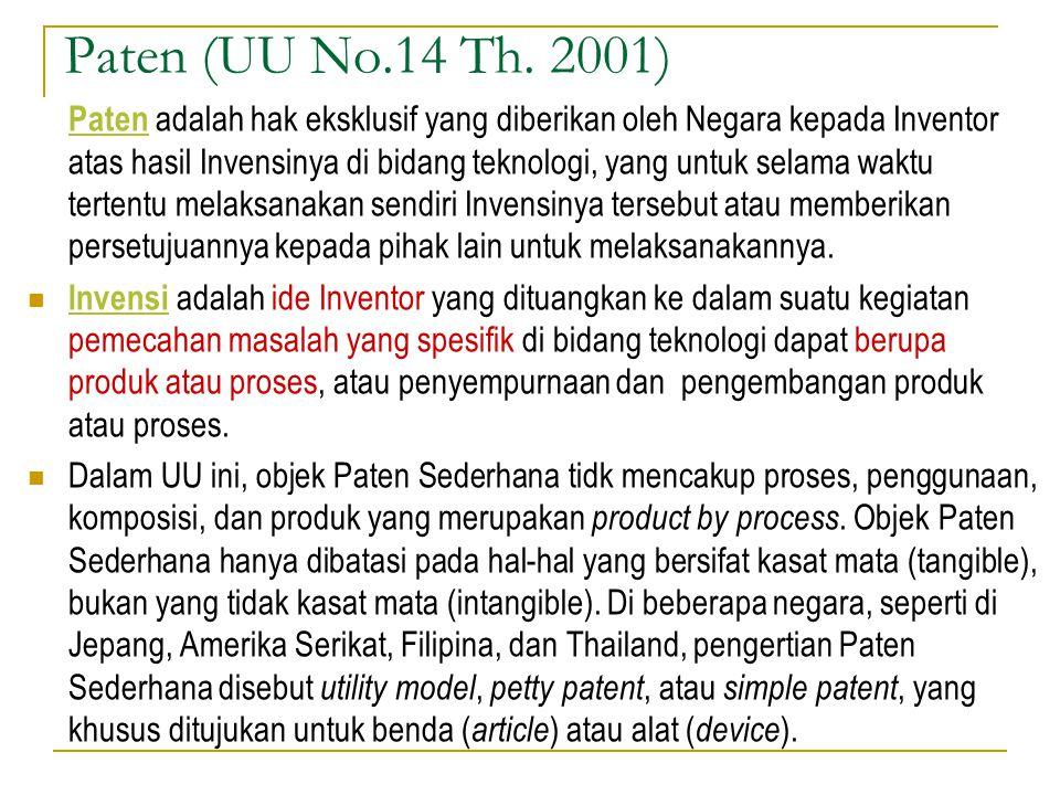 Paten (UU No.14 Th. 2001) Paten adalah hak eksklusif yang diberikan oleh Negara kepada Inventor atas hasil Invensinya di bidang teknologi, yang untuk