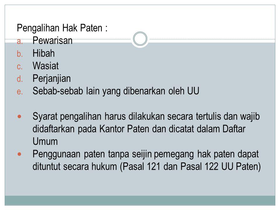 Pengalihan Hak Paten : a.Pewarisan b. Hibah c. Wasiat d.