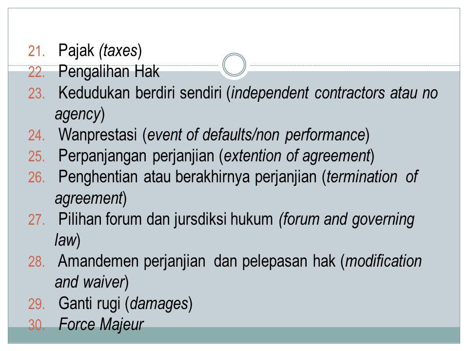 21. Pajak (taxes ) 22. Pengalihan Hak 23. Kedudukan berdiri sendiri ( independent contractors atau no agency ) 24. Wanprestasi ( event of defaults/non