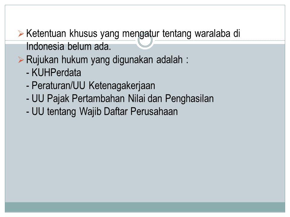  Ketentuan khusus yang mengatur tentang waralaba di Indonesia belum ada.  Rujukan hukum yang digunakan adalah : - KUHPerdata - Peraturan/UU Ketenaga