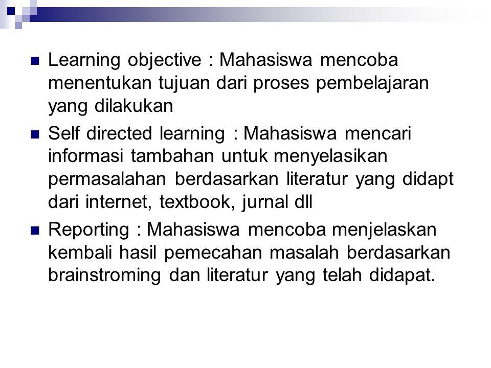 Learning objective : Mahasiswa mencoba menentukan tujuan dari proses pembelajaran yang dilakukan Self directed learning : Mahasiswa mencari informasi