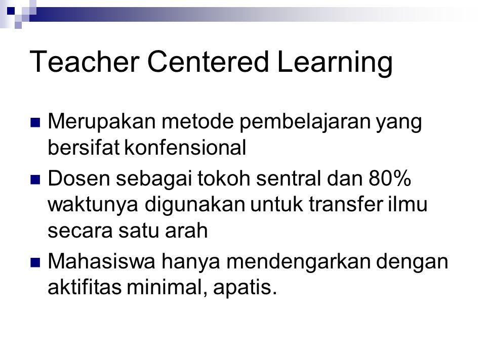 Teacher Centered Learning Merupakan metode pembelajaran yang bersifat konfensional Dosen sebagai tokoh sentral dan 80% waktunya digunakan untuk transf