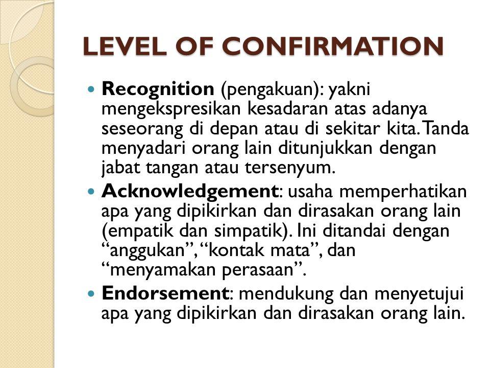 LEVEL OF CONFIRMATION Recognition (pengakuan): yakni mengekspresikan kesadaran atas adanya seseorang di depan atau di sekitar kita. Tanda menyadari or