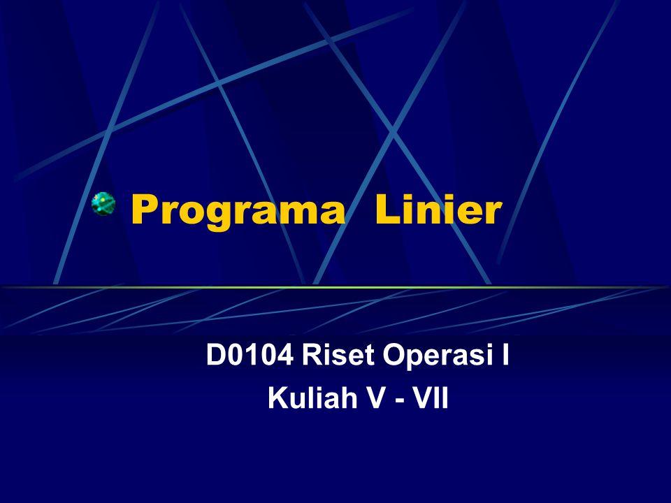 Programa Linier D0104 Riset Operasi I Kuliah V - VII