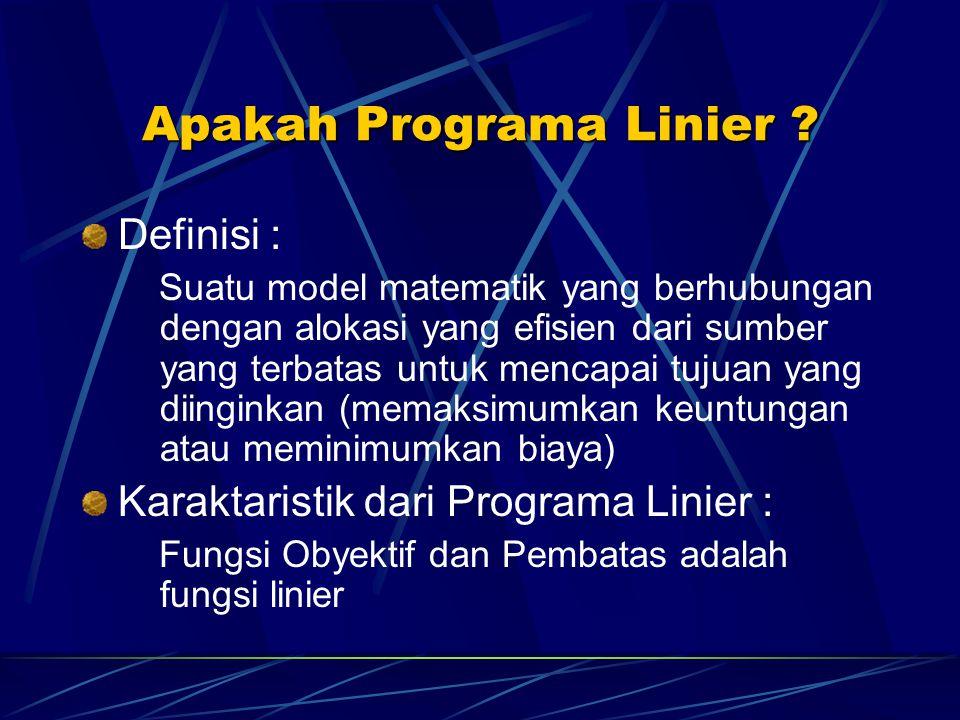 Apakah Programa Linier ? Definisi : Suatu model matematik yang berhubungan dengan alokasi yang efisien dari sumber yang terbatas untuk mencapai tujuan