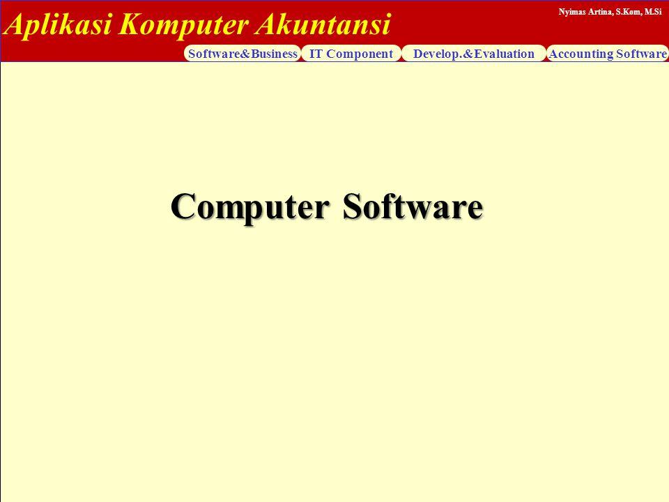 Aplikasi Komputer Akuntansi Software&BusinessIT ComponentDevelop.&EvaluationAccounting Software Nyimas Artina, S.Kom, M.Si Computer Software