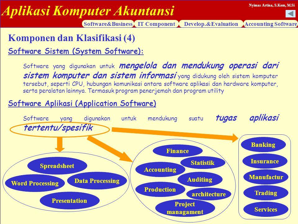 Aplikasi Komputer Akuntansi Software&BusinessIT ComponentDevelop.&EvaluationAccounting Software Nyimas Artina, S.Kom, M.Si Software Sistem (System Sof