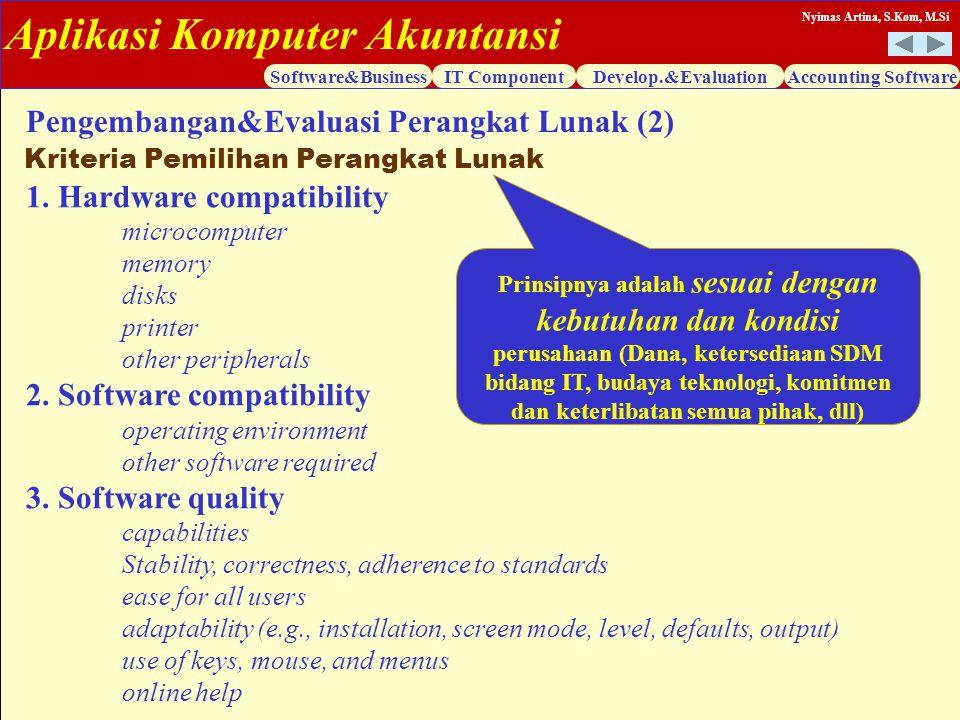 Aplikasi Komputer Akuntansi Software&BusinessIT ComponentDevelop.&EvaluationAccounting Software Nyimas Artina, S.Kom, M.Si 1. Hardware compatibility m
