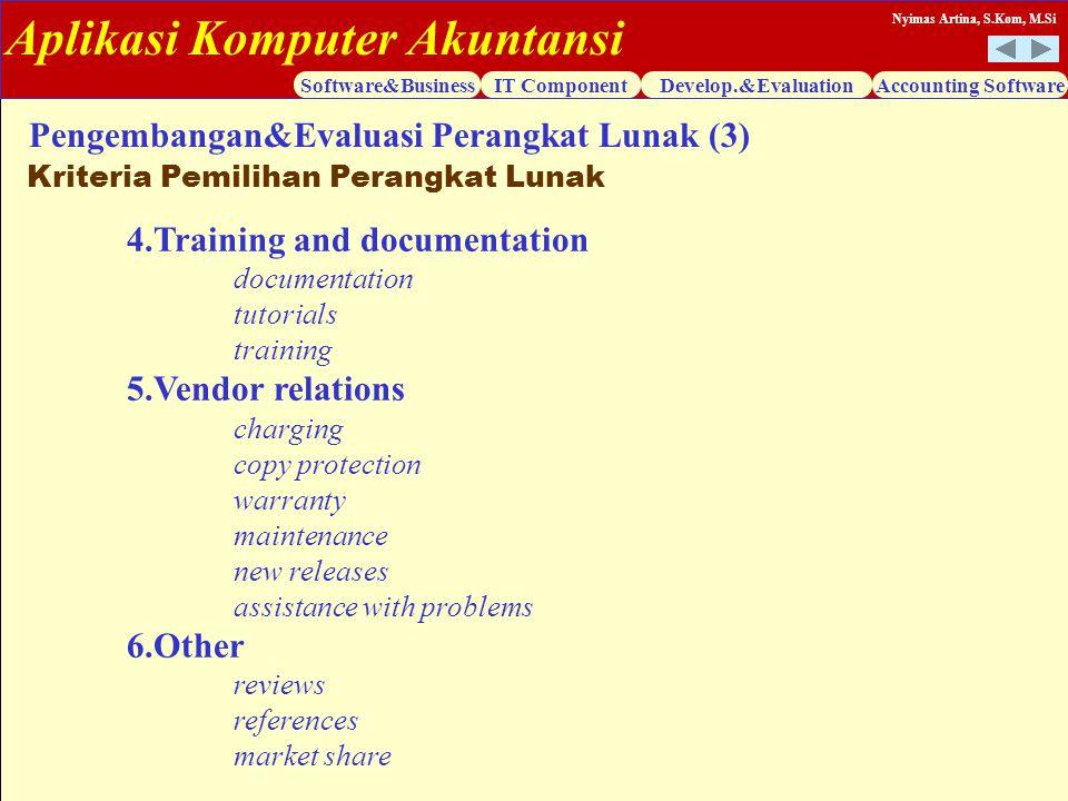 Aplikasi Komputer Akuntansi Software&BusinessIT ComponentDevelop.&EvaluationAccounting Software Nyimas Artina, S.Kom, M.Si 4.Training and documentatio