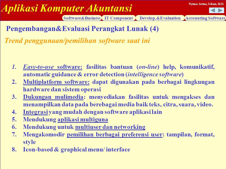 Aplikasi Komputer Akuntansi Software&BusinessIT ComponentDevelop.&EvaluationAccounting Software Nyimas Artina, S.Kom, M.Si 1.Easy-to-use software: fas