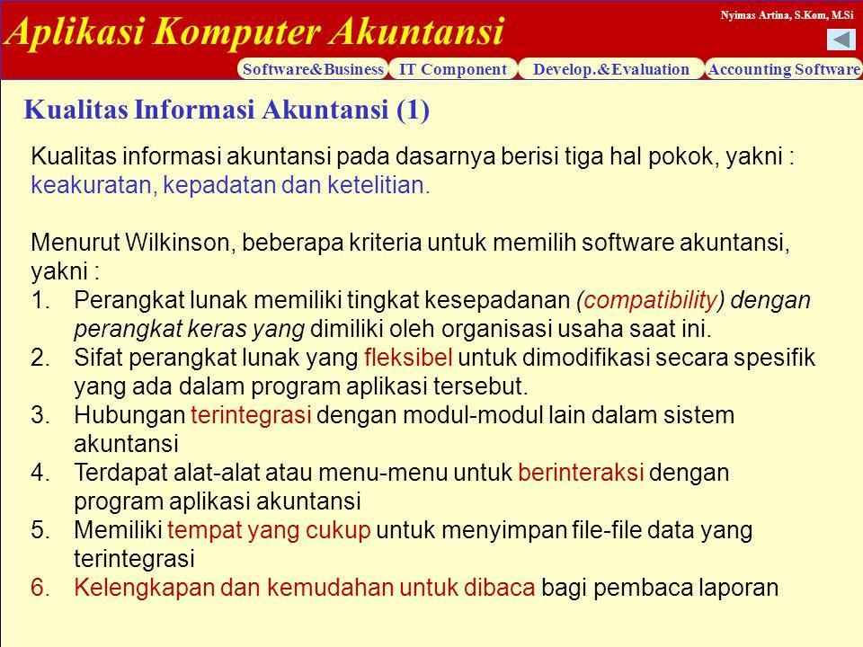 Aplikasi Komputer Akuntansi Software&BusinessIT ComponentDevelop.&EvaluationAccounting Software Nyimas Artina, S.Kom, M.Si Kualitas Informasi Akuntans