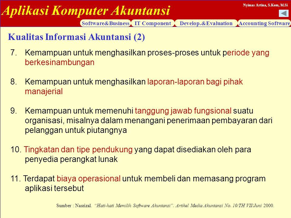 Aplikasi Komputer Akuntansi Software&BusinessIT ComponentDevelop.&EvaluationAccounting Software Nyimas Artina, S.Kom, M.Si 7.Kemampuan untuk menghasil