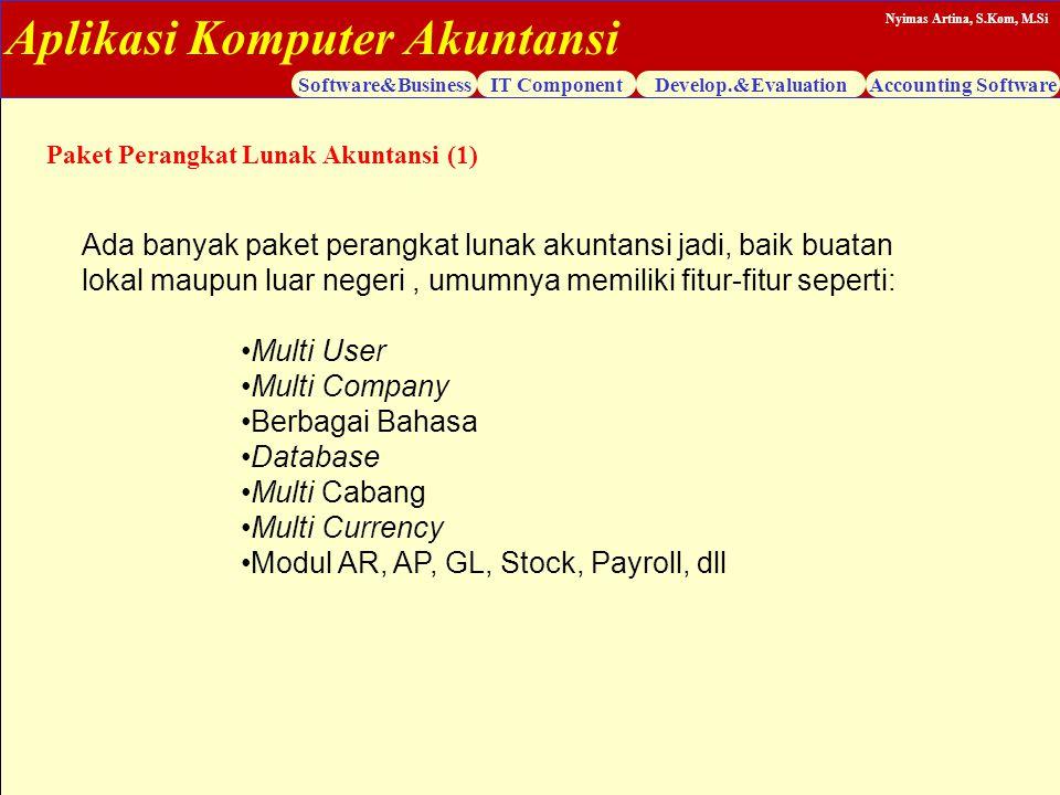 Aplikasi Komputer Akuntansi Software&BusinessIT ComponentDevelop.&EvaluationAccounting Software Nyimas Artina, S.Kom, M.Si Ada banyak paket perangkat