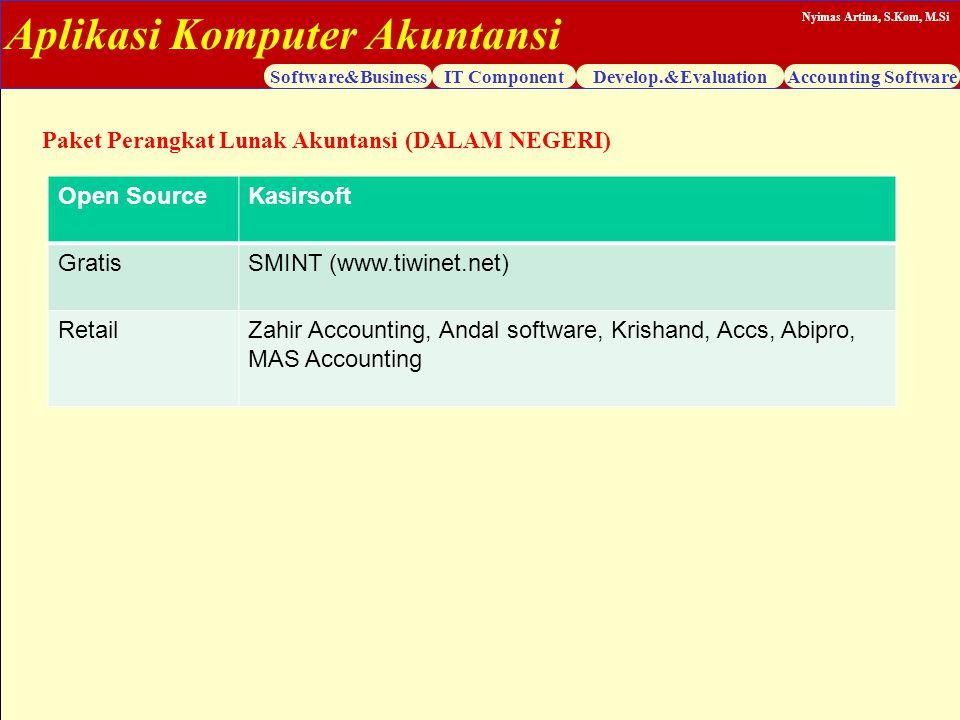 Aplikasi Komputer Akuntansi Software&BusinessIT ComponentDevelop.&EvaluationAccounting Software Nyimas Artina, S.Kom, M.Si Paket Perangkat Lunak Akunt