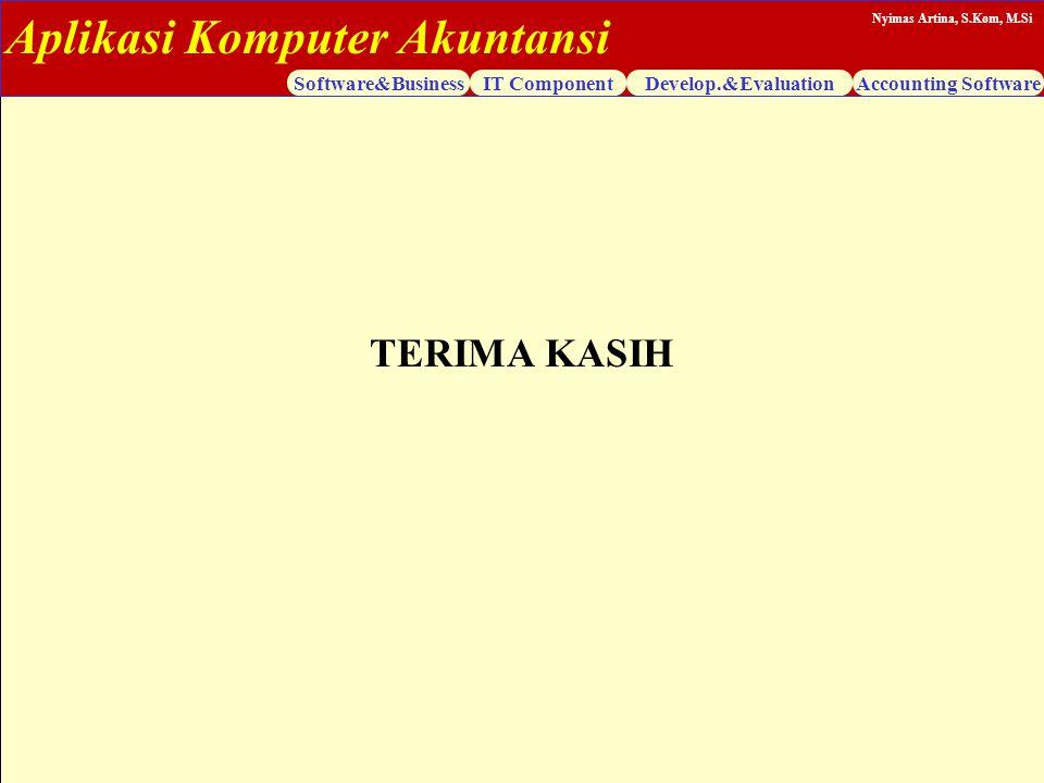 Aplikasi Komputer Akuntansi Software&BusinessIT ComponentDevelop.&EvaluationAccounting Software Nyimas Artina, S.Kom, M.Si TERIMA KASIH