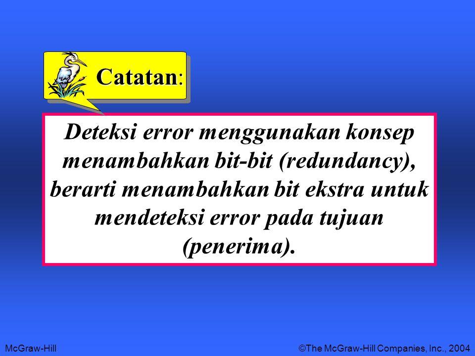 McGraw-Hill©The McGraw-Hill Companies, Inc., 2004 Deteksi error menggunakan konsep menambahkan bit-bit (redundancy), berarti menambahkan bit ekstra untuk mendeteksi error pada tujuan (penerima).