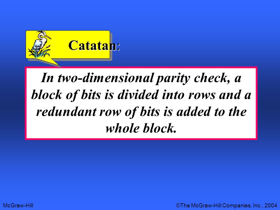McGraw-Hill©The McGraw-Hill Companies, Inc., 2004 In two-dimensional parity check, a block of bits is divided into rows and a redundant row of bits is added to the whole block.